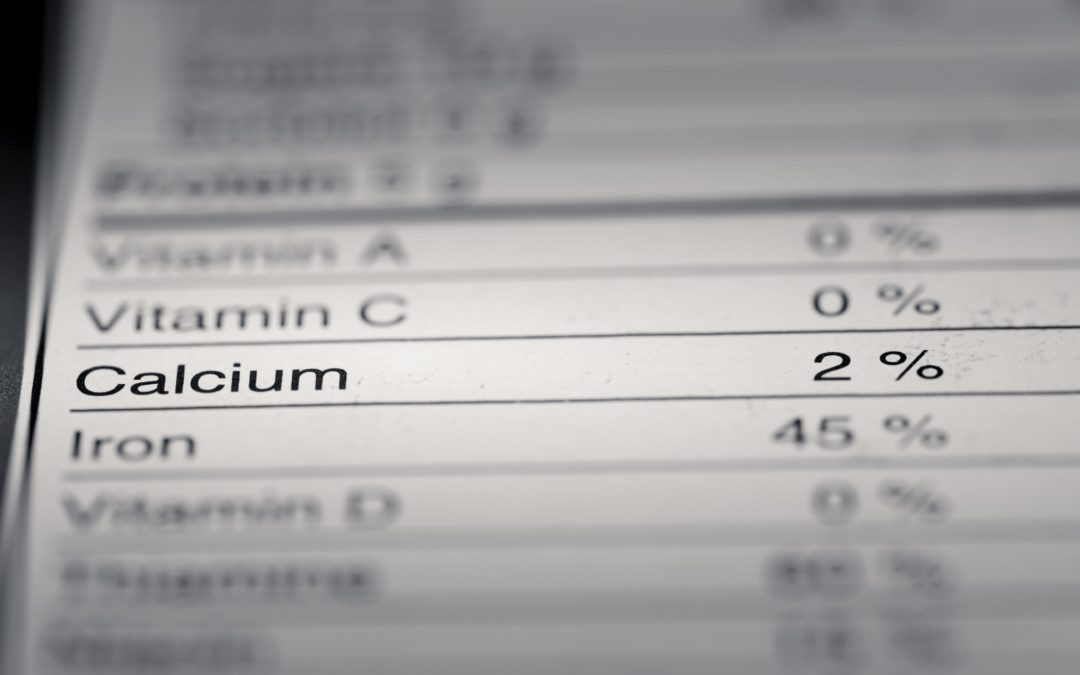 nutrition label highlighting the calcium content